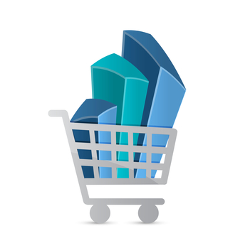 shopping cart and business graph