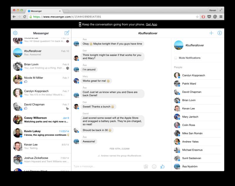 Facebook Messenger's new web interface