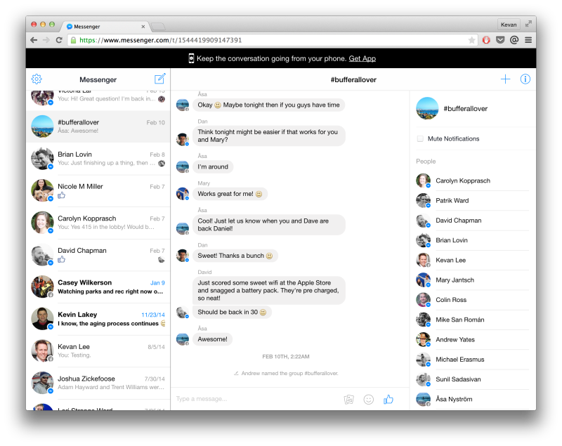 Facebook Messenger's new web interface