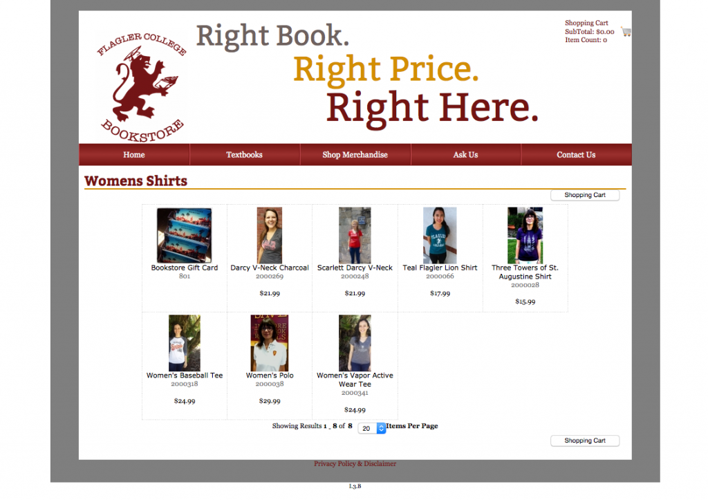 The Flagler College Bookstore website before the changes were made.