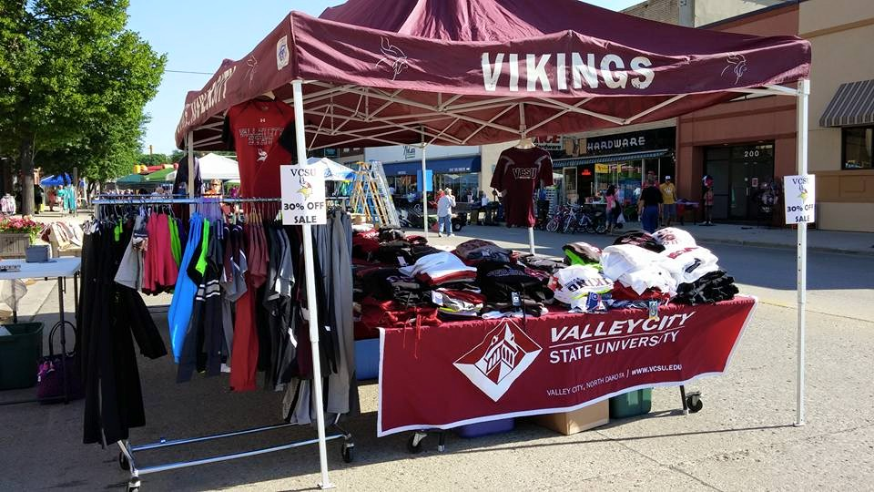 "VCSU Bookstore makes an appearance in downtown Valley City each year as part of the local Chamber of Commerce's ""Crazy Days Sale."""