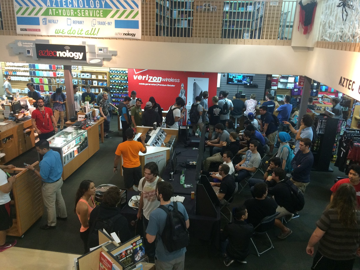 It was a packed house after hours at Aztec Shops for its first-ever video game launch party, featuring Halo 5.