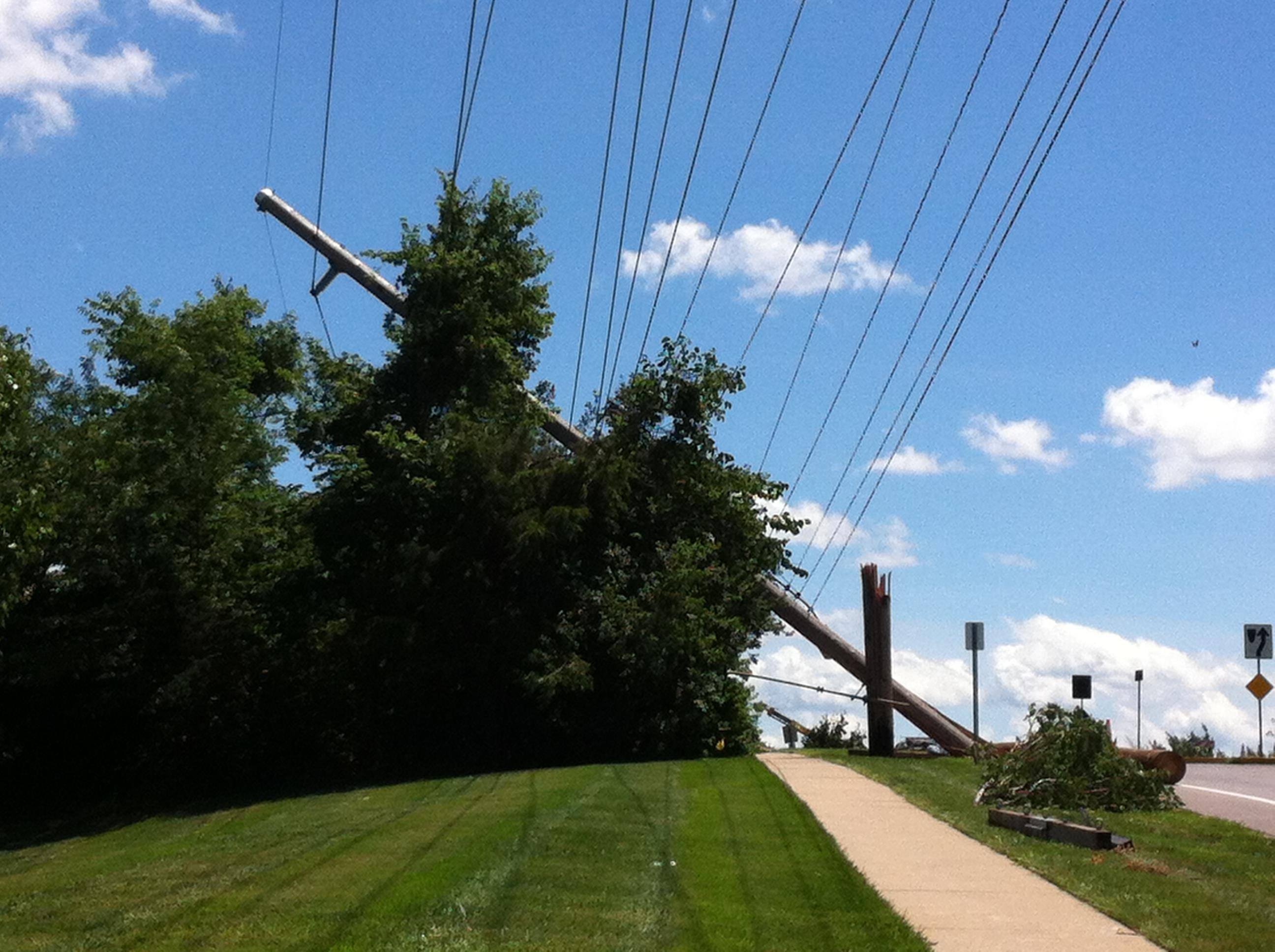 Power lines tangled and snapped throughout Columbia, but MBS was unaffected for the 3.5 hours it would have been without power. Many homes — and some trees on MBS property — weren't so lucky.