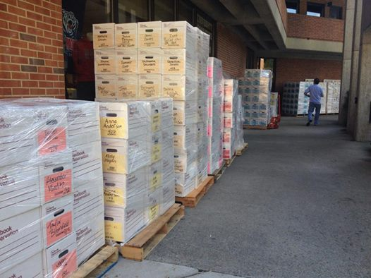 This might seem like a scene from the MBS warehouse, but these are some of the 20 pallets of books that were delivered straight to students' rooms at Belmont University.