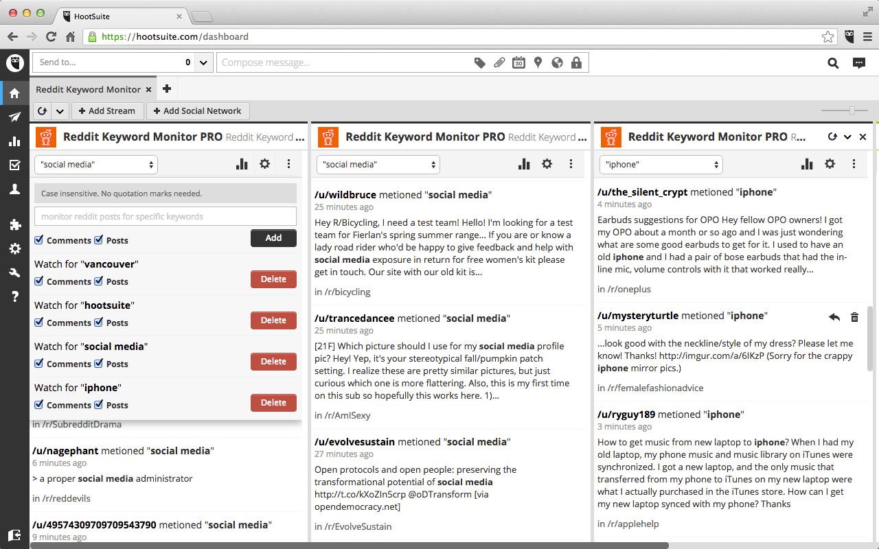 social media monitoring tool - Reddit Keyword Monitor Pro