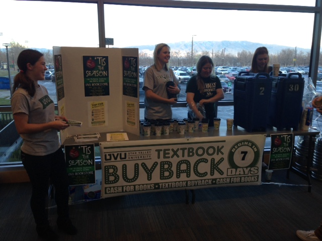 UVU Bookstore employees hand out hot chocolate and buyback information to students as a free warm treat to beat the Orem, Utah cold. Each cup had a sticker that included the buy's time, in an effort to raise awareness for when students can get the best value for their titles.