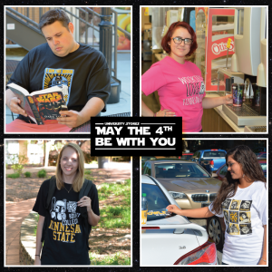 Student models showcase Star Wars themed Kennesaw State apparel and other merchandise that was available for sale