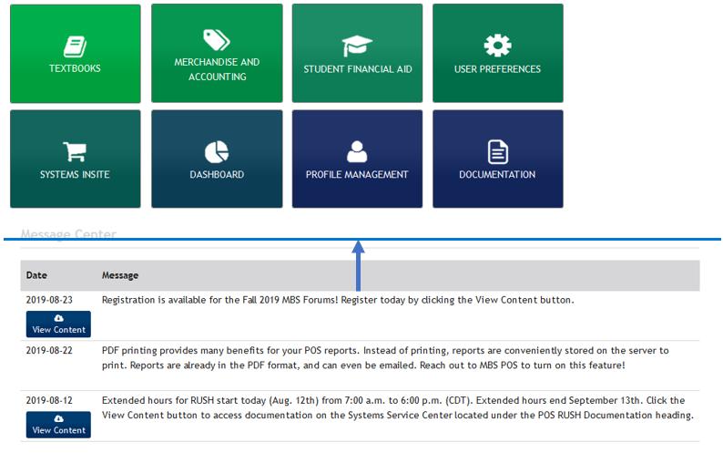 Arc menu — profile management