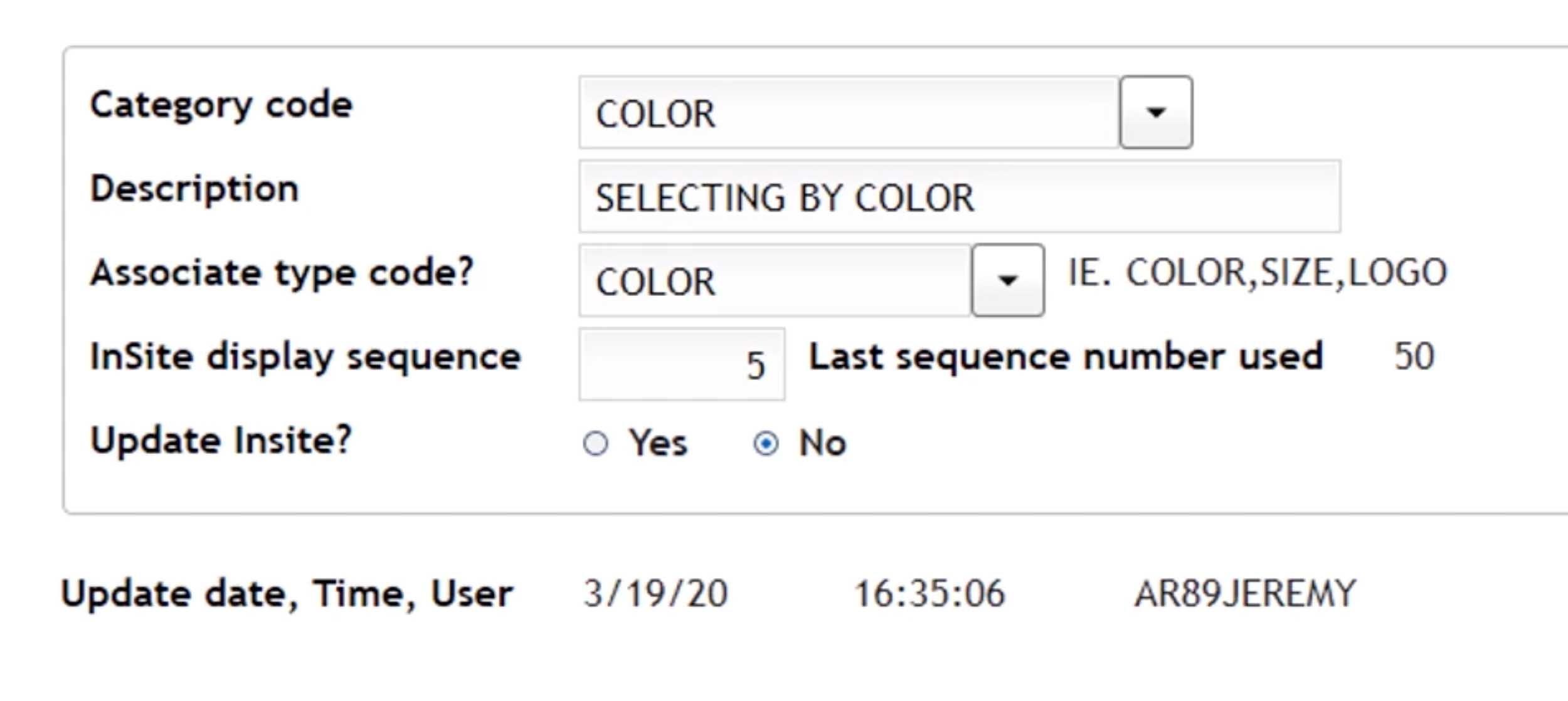 inSite filter categories 2