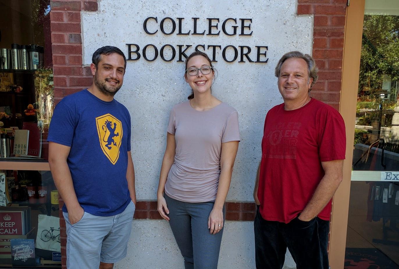 Pete Previte, Nichol Weisbecker and Trevor Smith, Flagler College Bookstore