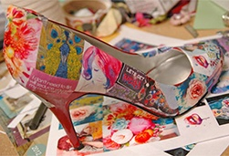 Example upcycle project: Recover old shoes with mod podge and pictures