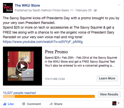 WKU Store Taps University President for Voicemail Promotion