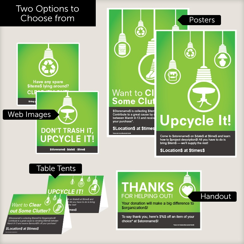 Download: all donation drive and Upcycle It! marketing materials