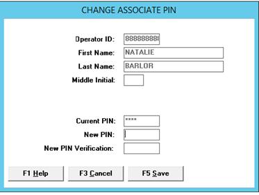Change associate PIN